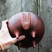 Тарелки ручной работы. Ярмарка Мастеров - ручная работа Зайцерелка (глубокая, большая). Handmade.