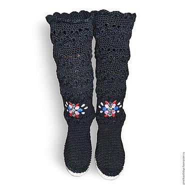 Обувь ручной работы. Ярмарка Мастеров - ручная работа Вязаные женские сапожки. Handmade.