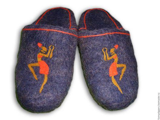 """Обувь ручной работы. Ярмарка Мастеров - ручная работа. Купить Валяные тапочки """"Танец"""". Handmade. Валяные тапочки мужские"""