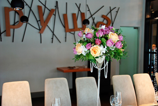 Оформление свадьбы цветами в ресторане Груша