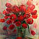 Картины цветов ручной работы. Ярмарка Мастеров - ручная работа. Купить Картина маслом Красные тюльпаны. Handmade. Разноцветный