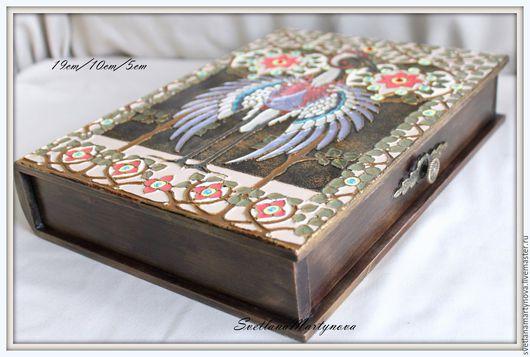 """Шкатулки ручной работы. Ярмарка Мастеров - ручная работа. Купить Шкатулка-книга """"Птица счастья"""". Handmade. Эксклюзивный подарок, для спальни"""