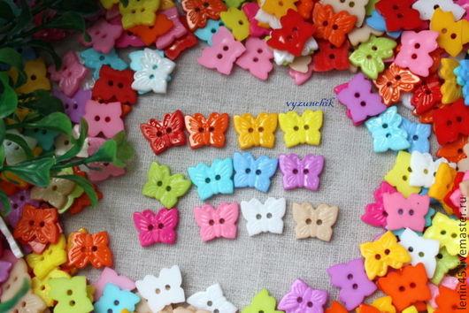 Шитье ручной работы. Ярмарка Мастеров - ручная работа. Купить Пуговицы бабочки 15х12 мм 12 цветов. Handmade. Пуговицы