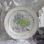 """Посуда ручной работы. Ярмарка Мастеров - ручная работа Тарелка """"Лаванда и базилик"""". Handmade."""