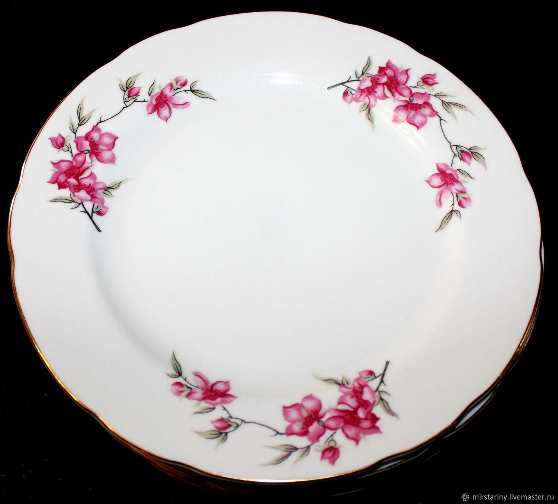 Set of 6 large table plates 'Sakura Flowers', Japan, Vintage plates, Moscow,  Фото №1