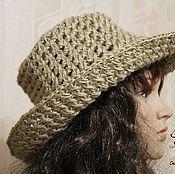 Аксессуары handmade. Livemaster - original item Hat with a wide brim.knitted jute.. Handmade.