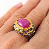 Серебряное кольцо с рубином 925 проба