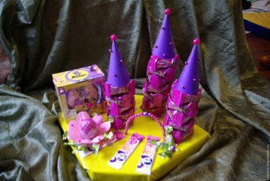 Персональные подарки ручной работы. Ярмарка Мастеров - ручная работа. Купить Замок принцессы из конфет. Handmade. Фиолетовый, подарок девочке