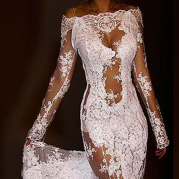 """Одежда ручной работы. Ярмарка Мастеров - ручная работа Платье свадебное длиннное, кружевное, со шлейфом 3D """"Афродита- пенная"""". Handmade."""