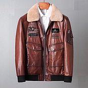 Мужская одежда handmade. Livemaster - original item Men`s autumn jacket, with a fur collar made of sheepskin!. Handmade.