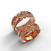 handmade. Livemaster - original item Paired Wedding Rings with patterns, gold (Ob26). Handmade.
