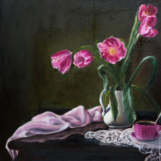 """Картины цветов ручной работы. Ярмарка Мастеров - ручная работа. Купить Картина маслом на холсте """"Розовые тюльпаны"""". Handmade. Розовый"""