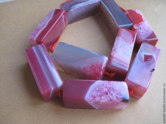 Для украшений ручной работы. Ярмарка Мастеров - ручная работа. Купить Агат прямоугольник  розовый, бусина крупная, агат с друзой. Handmade.