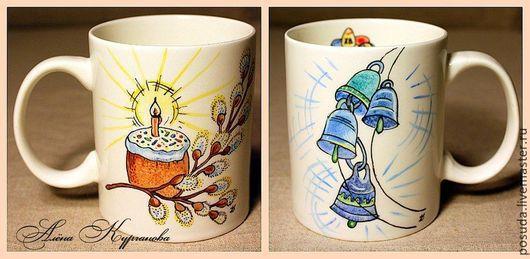 """Кружки и чашки ручной работы. Ярмарка Мастеров - ручная работа. Купить кружка """"Пасха"""". Handmade. Разноцветный, Пасхальный кролик, верба"""