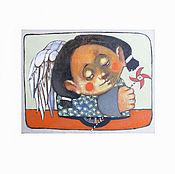 Картины и панно ручной работы. Ярмарка Мастеров - ручная работа Ангел ветра . Печать оригинальных картин. 23x30. Handmade.