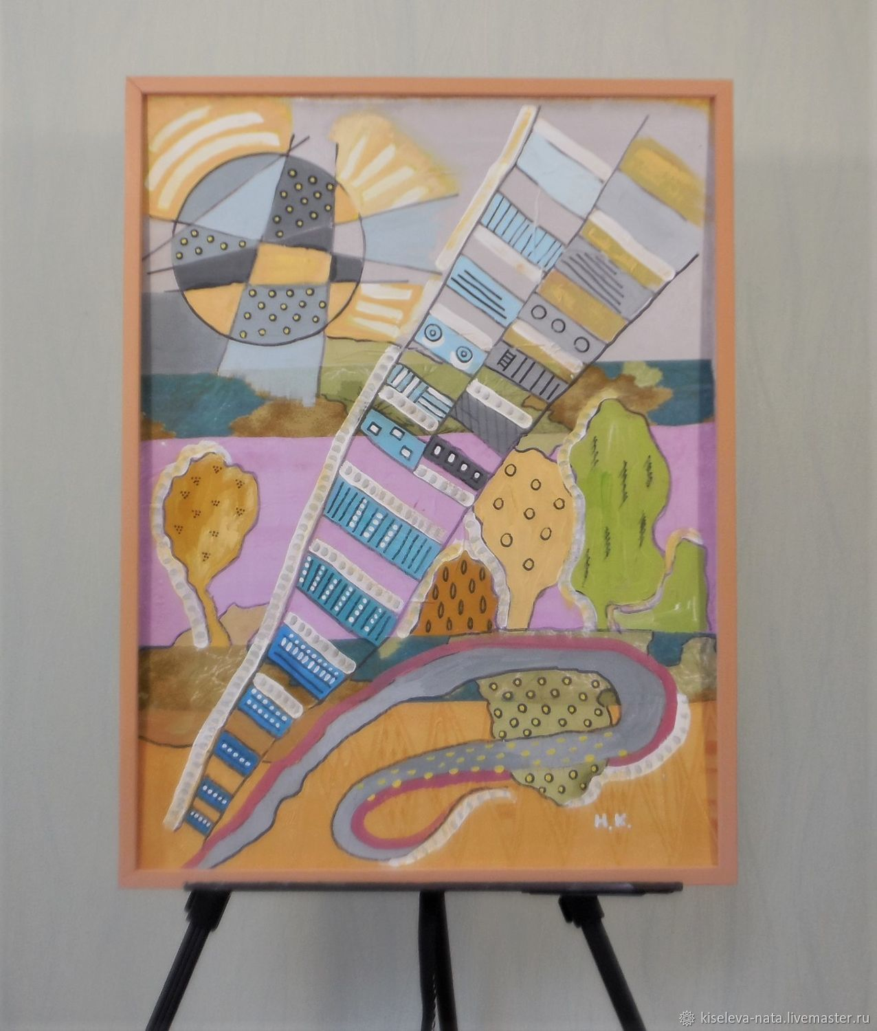 Paintings:oil. Oktyabrskaya Street. From the series Gorod. .60h80, Pictures, Dubna,  Фото №1