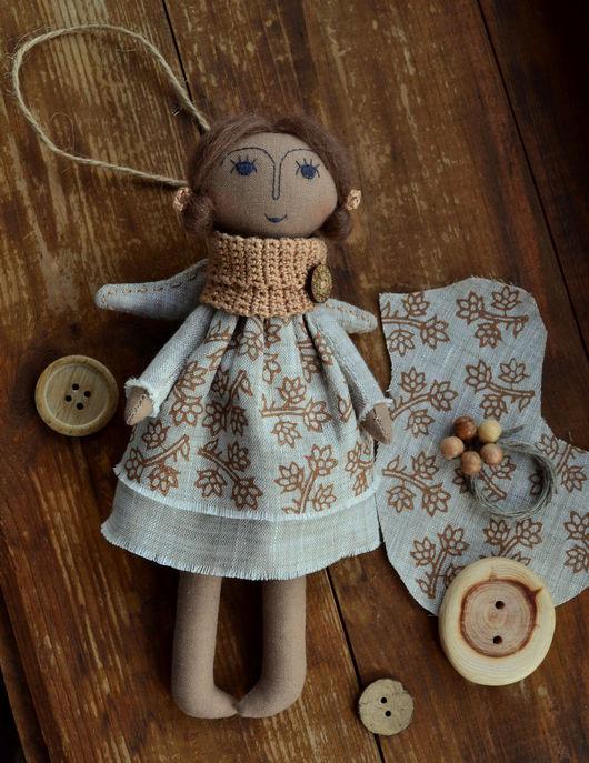 Текстильный ангел Art.004 (ручная набойка по ткани). Angeli so mnoy. Ярмарка Мастеров