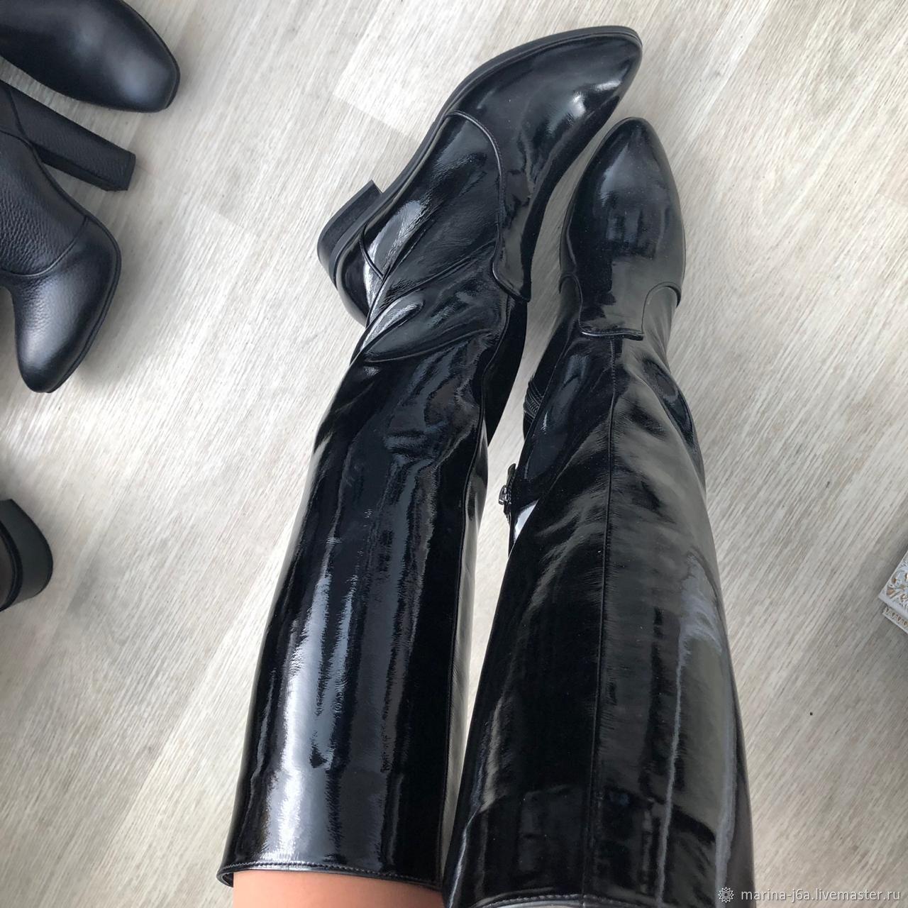 Обувь ручной работы. Ярмарка Мастеров - ручная работа. Купить Жокейские лаковые. Handmade. Сапоги, сапоги женские, лаковые сапоги