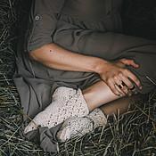 Аксессуары ручной работы. Ярмарка Мастеров - ручная работа носочки укроченные ажурные. Handmade.