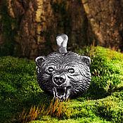 Подвеска ручной работы. Ярмарка Мастеров - ручная работа Литой кулон Медведь из серебра. Handmade.