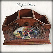 Канцелярские товары handmade. Livemaster - original item Pencil Box Pheasants. Handmade.