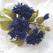 Украшения handmade. Livemaster - original item Jewelry made of leather.Brooch hairpin flower leather BLUE CORNFLOWERS. Handmade.