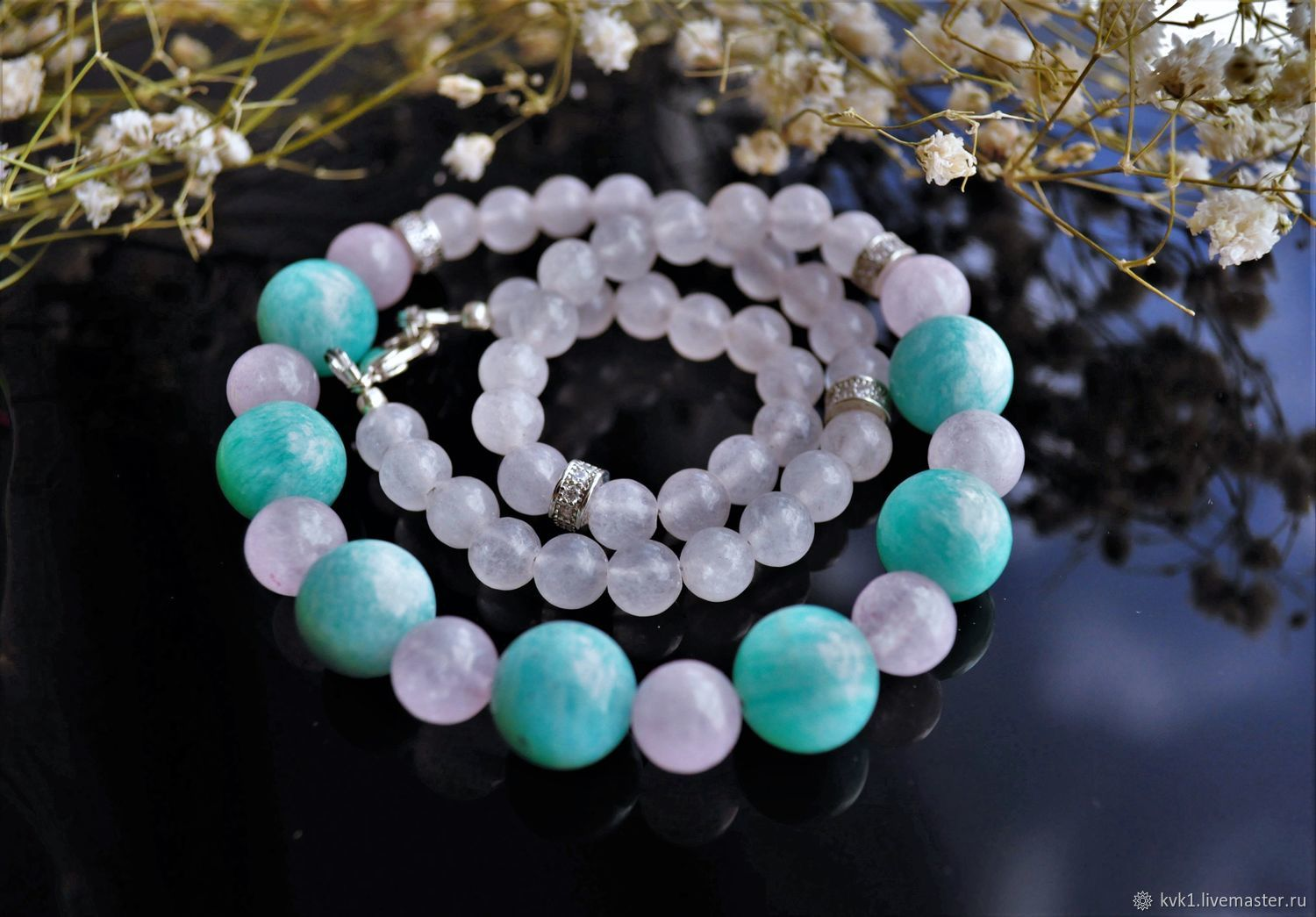 Long enchanting beads of rose quartz and green amazonite, Necklace, Moscow,  Фото №1