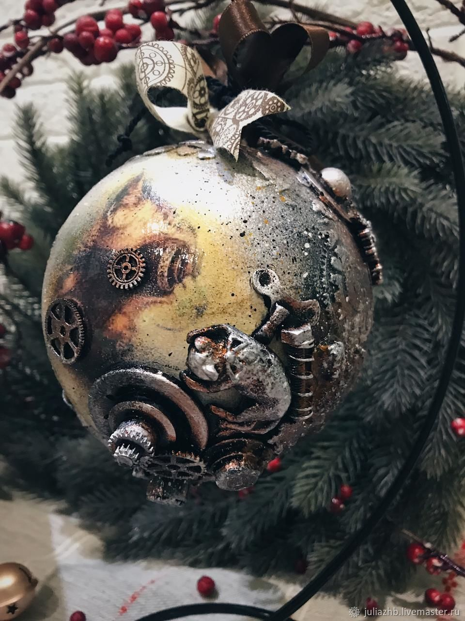 Steampunk Cat, a large Christmas ball (15 cm), Christmas decorations, Sergiev Posad,  Фото №1