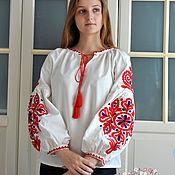 Русский стиль handmade. Livemaster - original item Embroidered shirt in ethno / boho style white. Handmade.