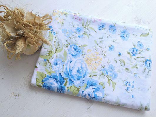 """Шитье ручной работы. Ярмарка Мастеров - ручная работа. Купить Ткань Хлопок """"Цветы в голубой гамме"""" на белом фоне. Handmade."""