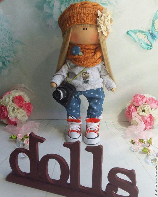 Куклы тыквоголовки ручной работы. Ярмарка Мастеров - ручная работа. Купить Девочка-фотограф. Handmade. Рыжий, кукла Тильда, холлофайбер