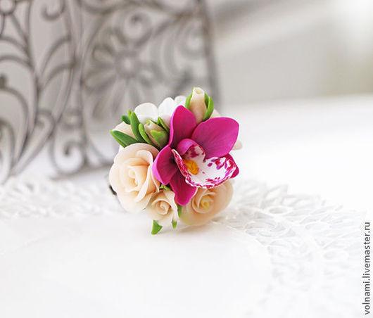 """Кольца ручной работы. Ярмарка Мастеров - ручная работа. Купить """"Есения"""" кольцо. Handmade. Бежевый, розы, кольцо, подарок"""