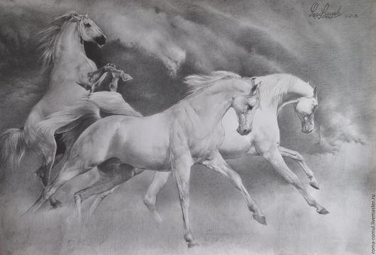 Животные ручной работы. Ярмарка Мастеров - ручная работа. Купить кони по небу летели. Handmade. Белый, анимализм, животные, пейзаж