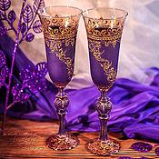 Посуда ручной работы. Ярмарка Мастеров - ручная работа Бокалы шампанские - готика Виолетта. Handmade.