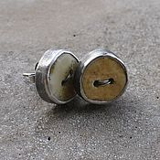 Stud earrings handmade. Livemaster - original item Button earrings with amber, silver. Handmade.