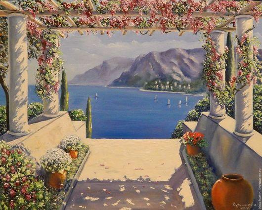 Пейзаж ручной работы. Ярмарка Мастеров - ручная работа. Купить Средиземноморский пейзаж. Handmade. Комбинированный, пейзаж с морем, холст