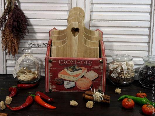 """Кухня ручной работы. Ярмарка Мастеров - ручная работа. Купить """" Fromages"""" набор досок из дуба. Handmade. Бордовый"""