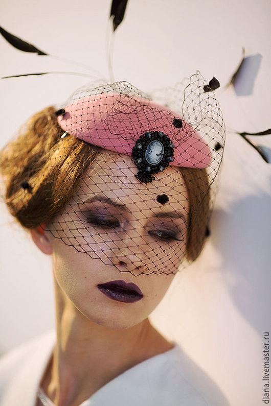 Шляпы ручной работы. Ярмарка Мастеров - ручная работа. Купить Вечерняя  вуалетка Роковая фуксия. Handmade. Фуксия, шляпка