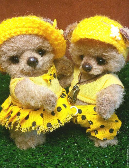 Мишки Тедди ручной работы. Ярмарка Мастеров - ручная работа. Купить Тимошка и Туся(Татуся). Handmade. Желтый, искусственный мех