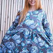 Платья ручной работы. Ярмарка Мастеров - ручная работа Платье для кормящих и беременных, Серые пионы. Handmade.