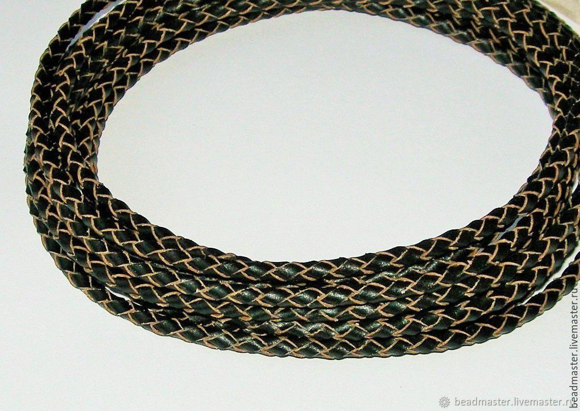 Для украшений ручной работы. Ярмарка Мастеров - ручная работа. Купить Шнур кожаный плетёный, 3 мм. Handmade. Кожа