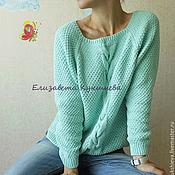 Хлопковый мятный пуловер