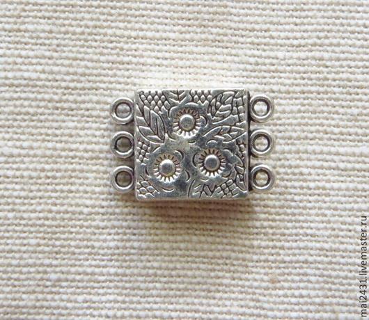 Застежка магнитная с цветами, античное серебро