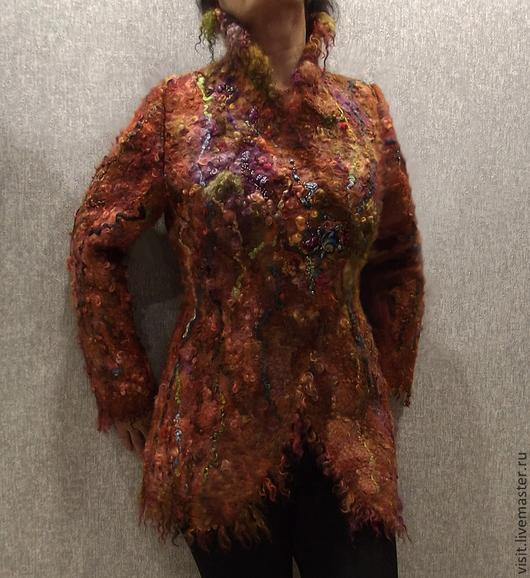 """Верхняя одежда ручной работы. Ярмарка Мастеров - ручная работа. Купить Куртка, полупальто """"Феерия цвета"""" валяная из шерсти и флиса. Handmade."""
