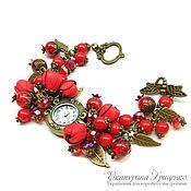 Украшения handmade. Livemaster - original item Women`s wrist watch bracelet with flowers leather. Watches women. Handmade.