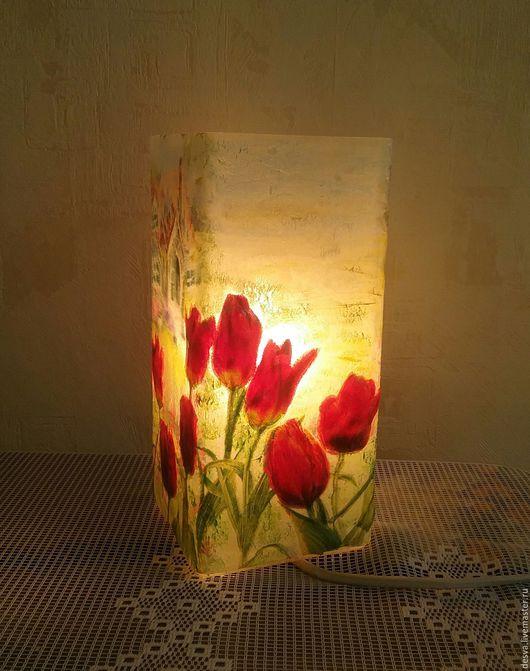 """Освещение ручной работы. Ярмарка Мастеров - ручная работа. Купить Настольная лампа """"Тюльпаны"""". Handmade. Комбинированный, тюльпаны"""