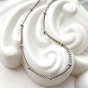Украшения handmade. Livemaster - original item Chain bracelet with beads, silver (art: :084.d. .0,40). Handmade.