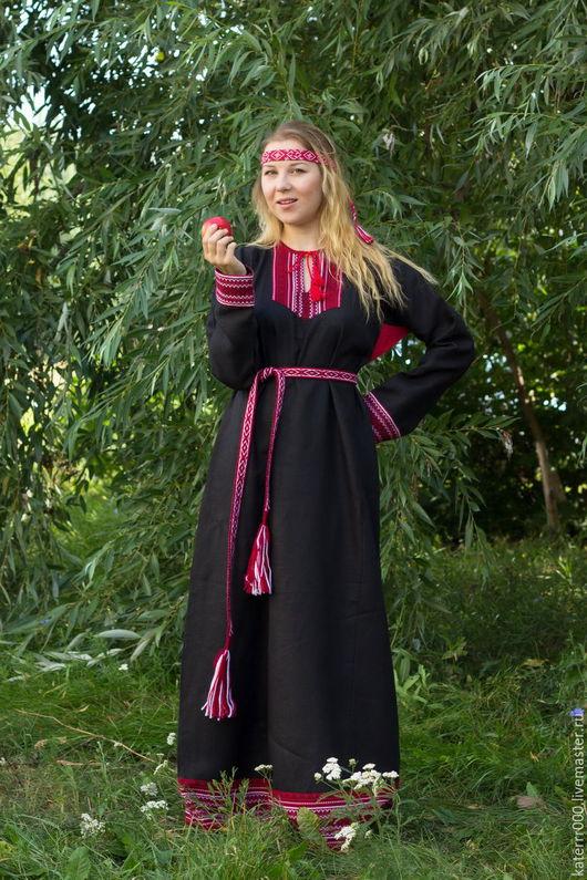 """Одежда ручной работы. Ярмарка Мастеров - ручная работа. Купить Платье """"Берегиня"""" черно-красное. Handmade. Белый, этно, акрил"""