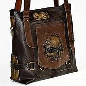 Classic Bag handmade. Livemaster - original item Bag - pack - Zombies. Skull. Steampunk . Leather bag.. Handmade.