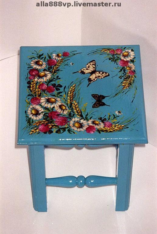 Детская ручной работы. Ярмарка Мастеров - ручная работа. Купить Детский стульчик из дерева Лето. Handmade. Роспись мебели, цветы